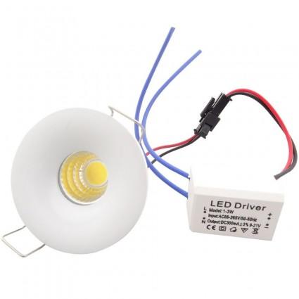 SPOT LED 3W ROTUND ALB CALD MINI