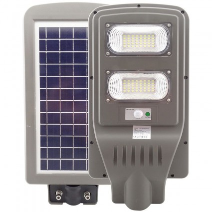LAMPA STRADALA LED 60W CU PANOU SOLAR, SENZOR CREPUSCULAR SI ACUMULATOR