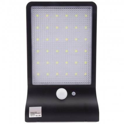 LAMPA LED PERETE NEAGRA 4W SOLARA CU SENZOR IP65