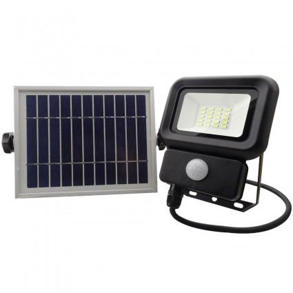 Proiector Cu Panou Solar 10W Led Smd Alb Rece Si Senzor De Miscare IP65