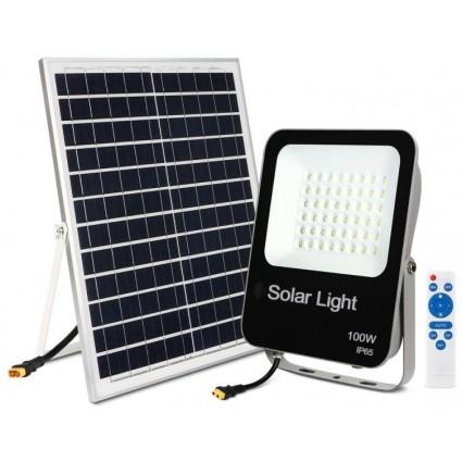 Proiector Cu Panou Solar 100W Led Si Telecomanda